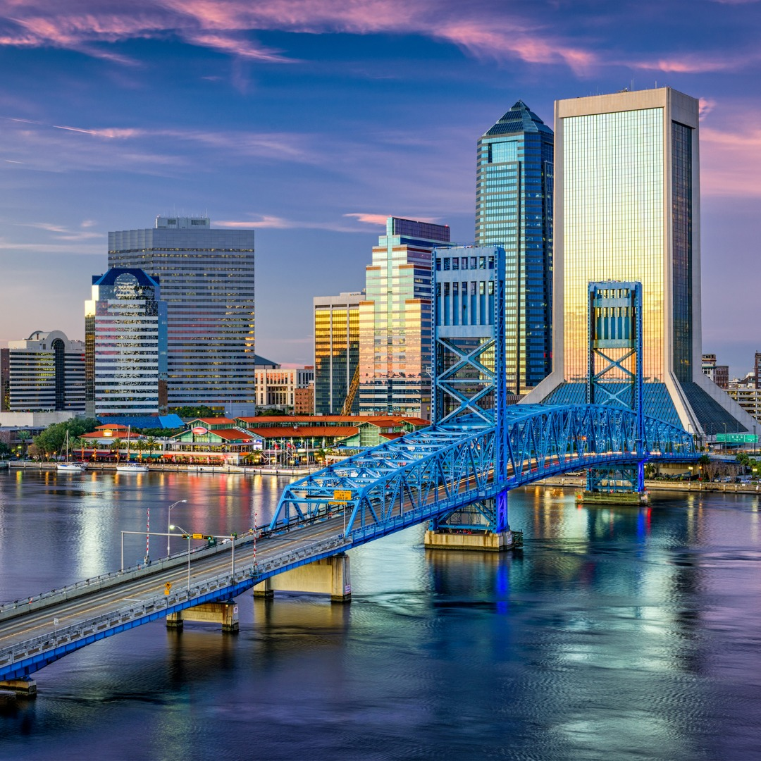 Jacksonville, Florida, skyline at dusk