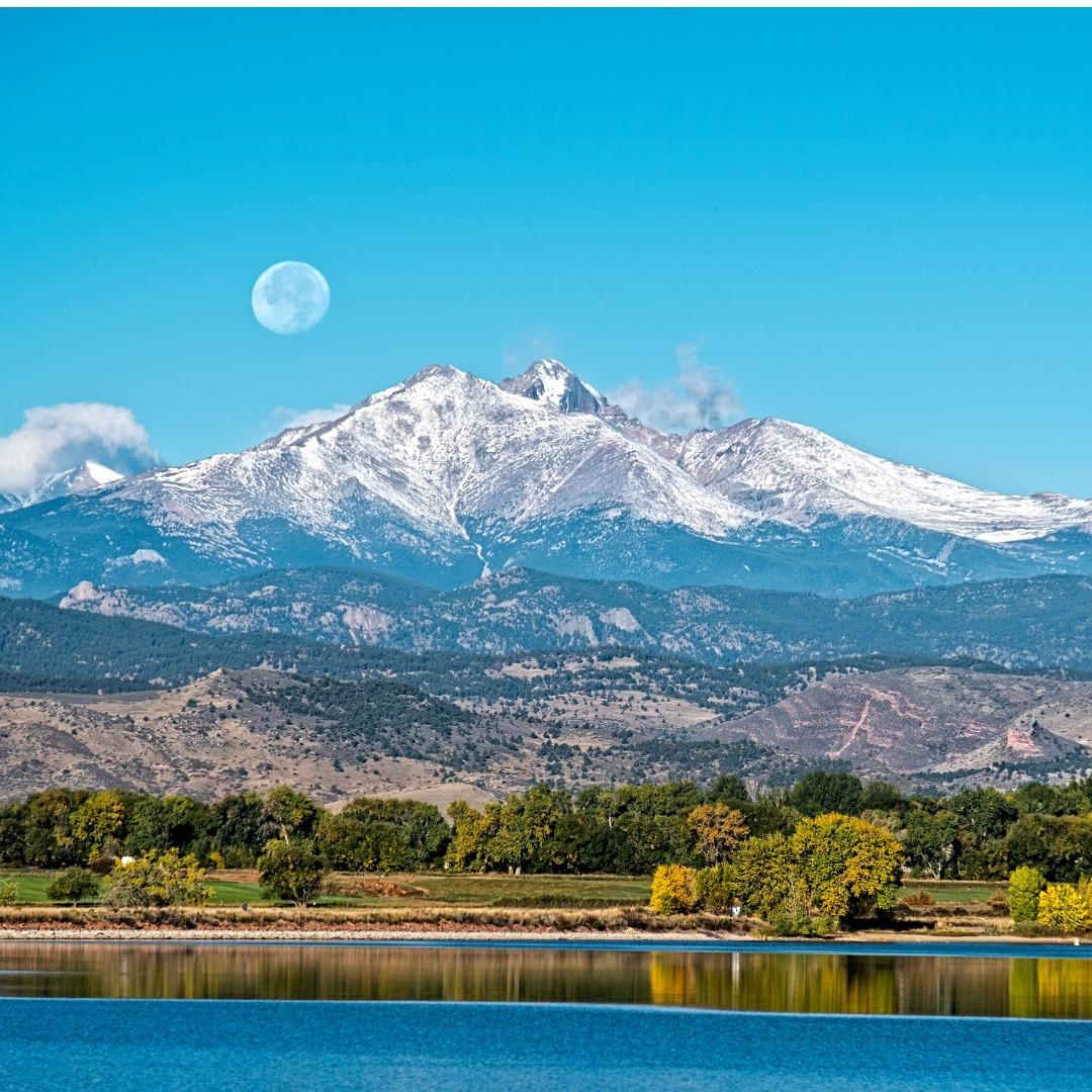 Full moon over lake in Longmont, Colorado