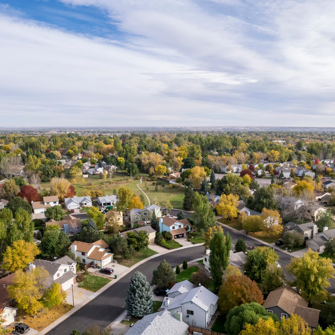 Aerial view of Fort Collins, Colorado, in autumn