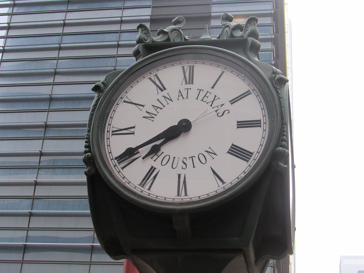 Clock in downtown Houston