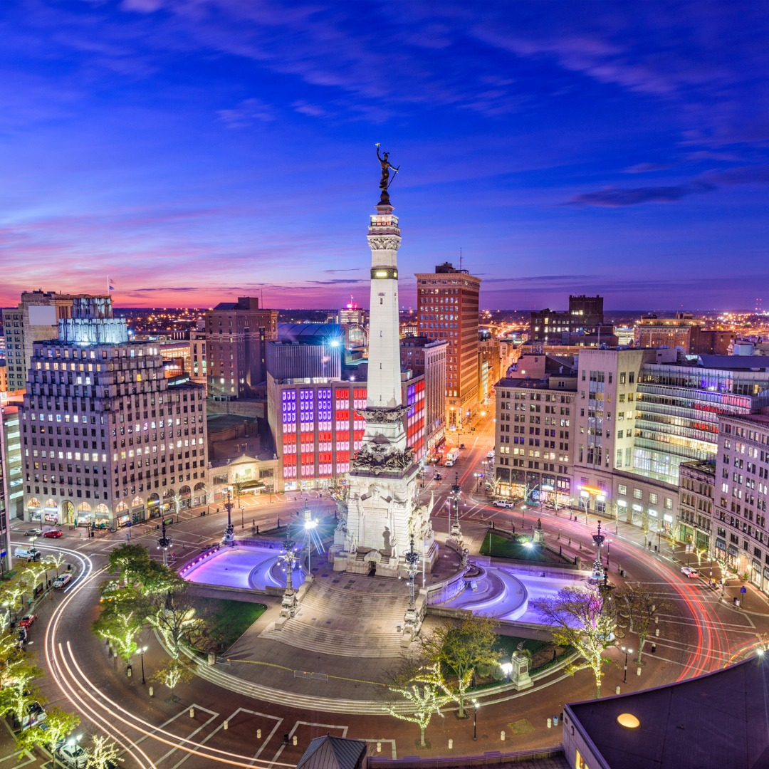 Night View of the Bustling City of Indianapolis