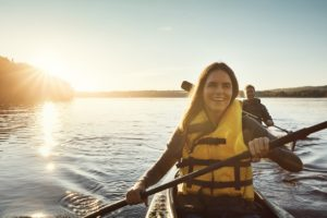 Fort Smith Woman Wearing a Lifejacket while Kayaking