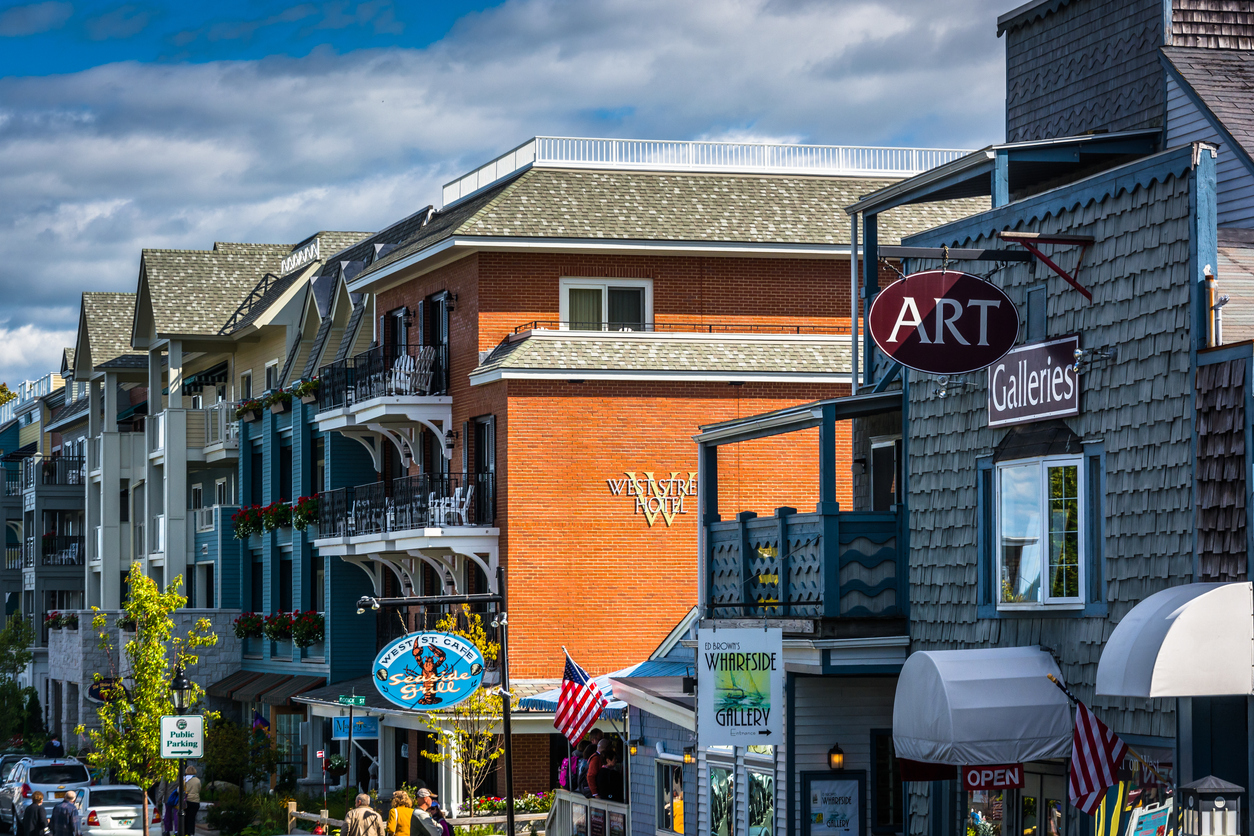 Businesses on West Street in downtown Bar Harbor, Maine.