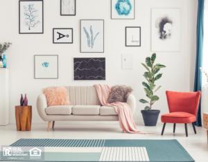 Colorful Living Room in Locust Grove Rental Home
