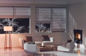 Peyton Living Room in the Evening with Beautiful Shades
