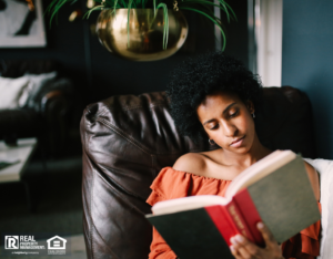Woman Relaxing in Her Weeki Wachee Reading Nook