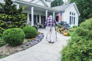 Elderly Beaverton Man Walking Up the Path to the Front Door