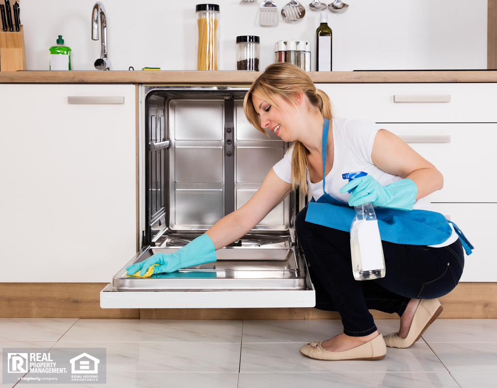 BlondeWoman Cleaning Dishwasher with Rubber Gloves