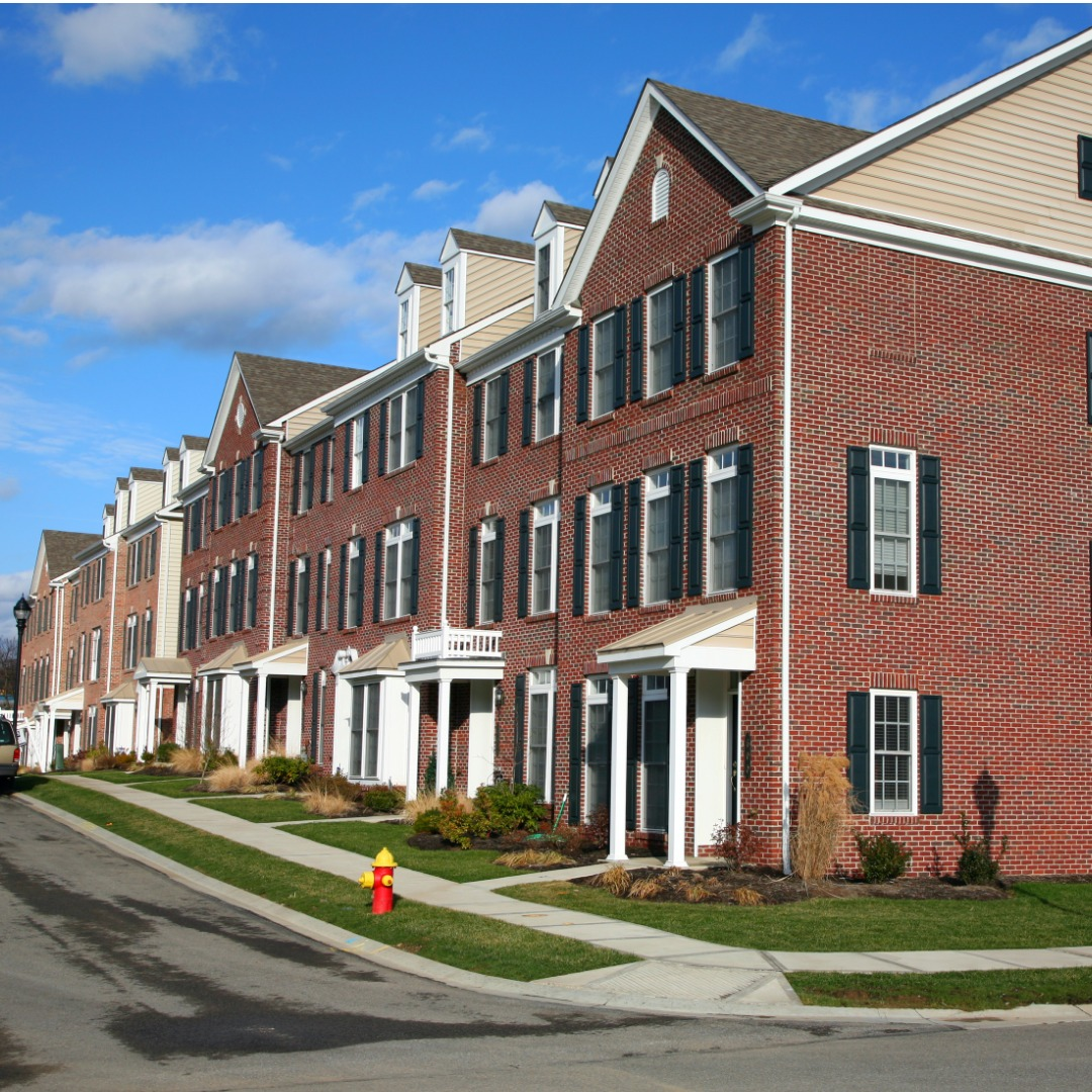 Red brick townhouses in Pennsylvania