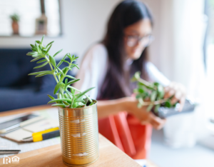 Mars Woman Repurposing Metal Cans for Planters on her Desk