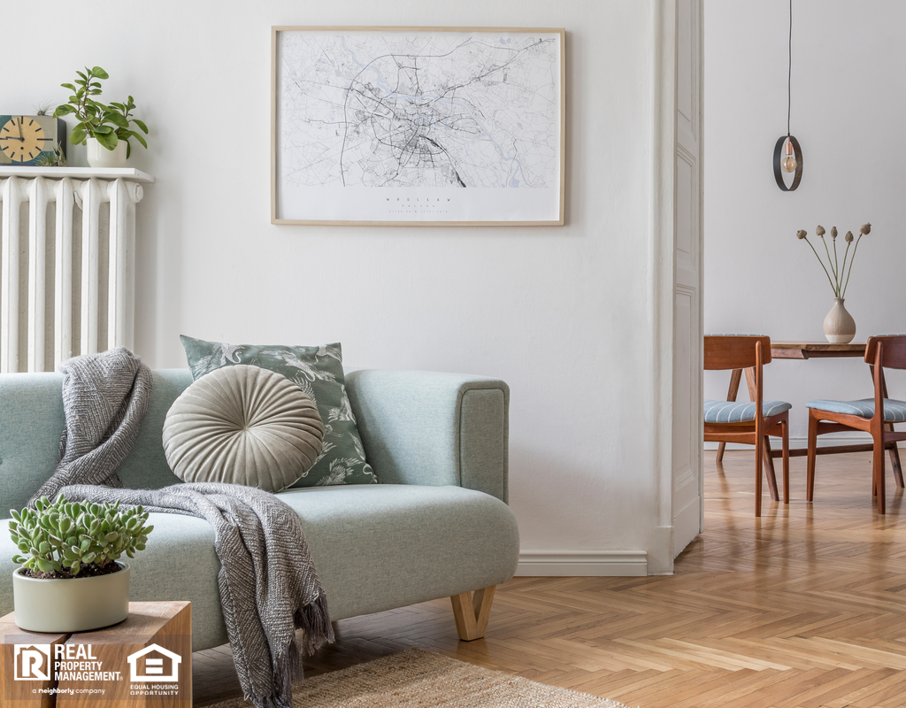 Stylish Living Room in El Segundo with Reclaimed Wood Flooring