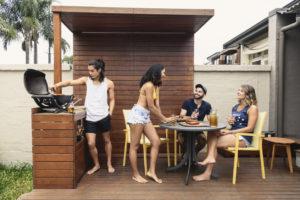 Delafield Tenants Enjoying the Deck in the Backyard