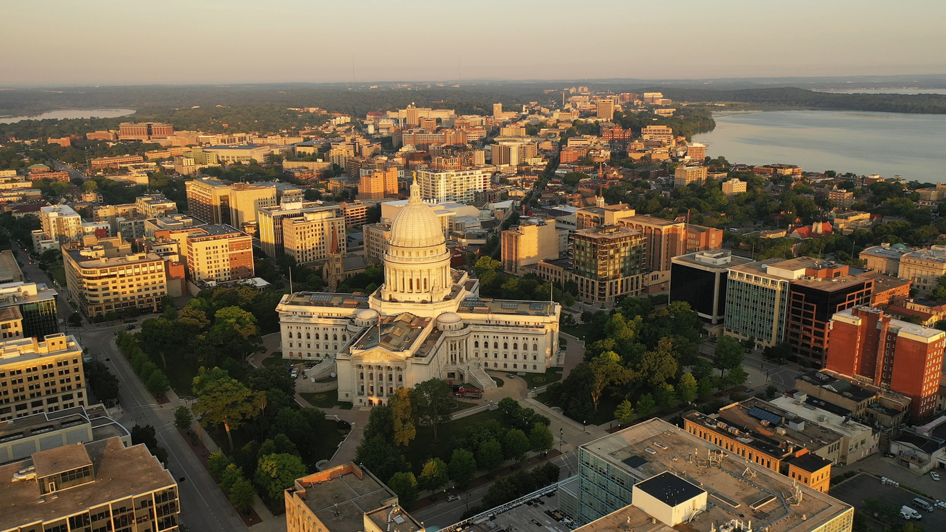 Aerial view of City of Madison, the capital city of Wisconsin
