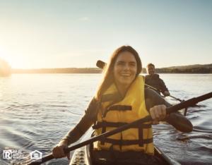 Plantation Woman Wearing a Lifejacket while Kayaking