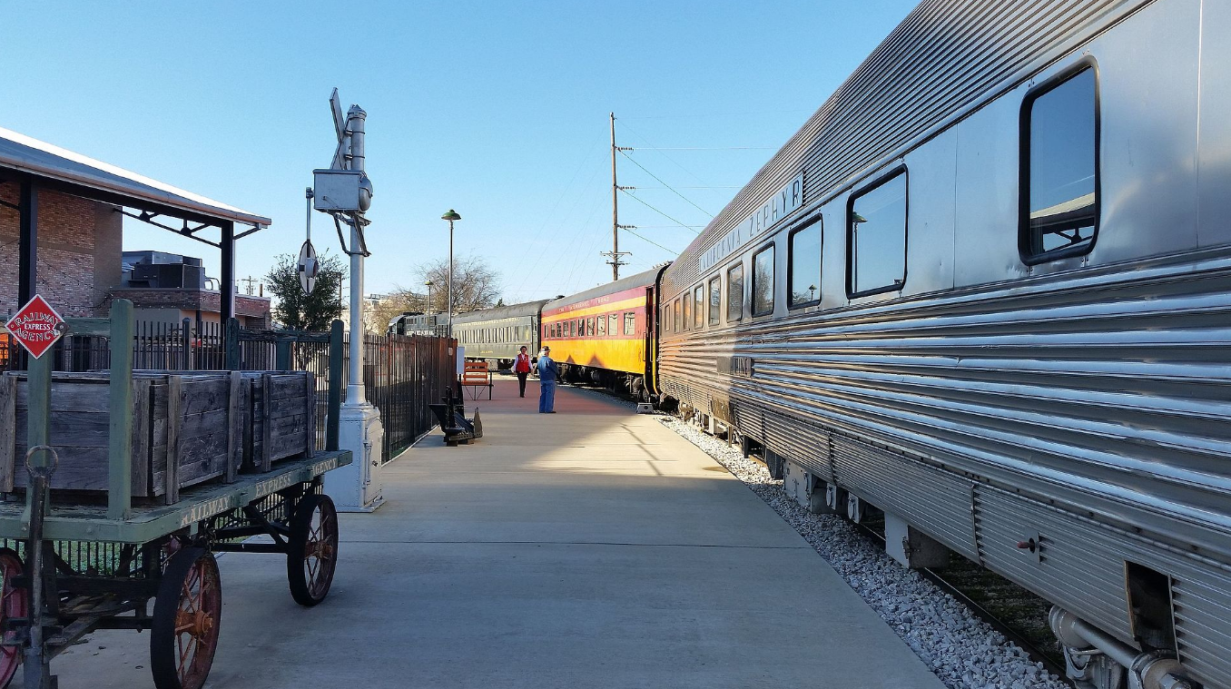Train Arriving at the Cedar Park Depot in Texas