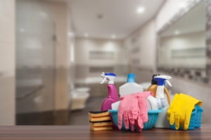 Cleaning Supplies as the Focal Point of a Bathroom in a Denton Rental Home
