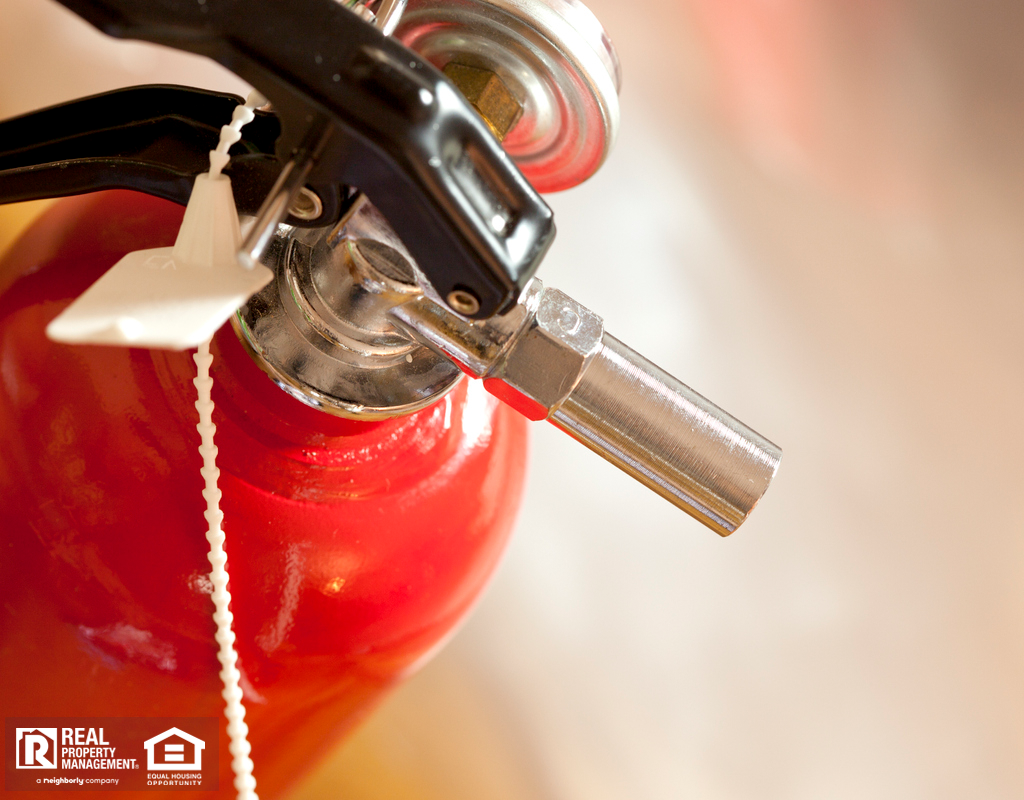 Close Up of Red Fire Extinguisher