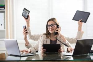 Humble Multitasking Businesswoman