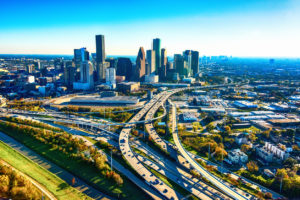 The downtown skyline and surrounding metropolitan area of Houston, Texas; the fourth largest city in the United States shot from an altitude of about 1000 feet.