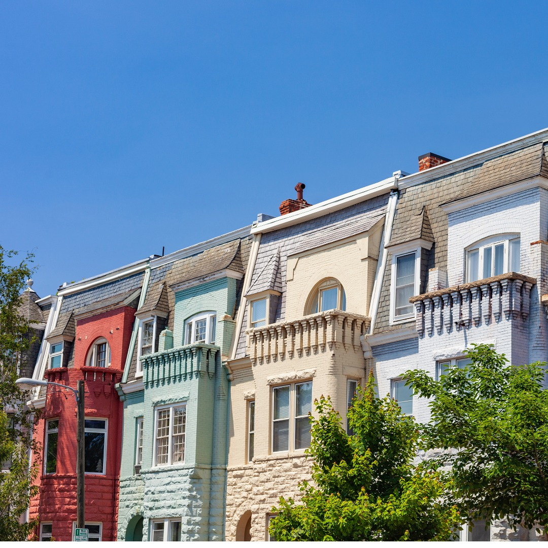 Colorful rowhouses in Richmond, Virignia