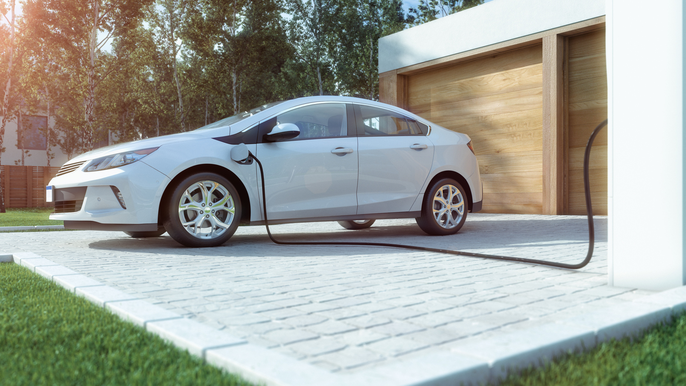 Electric Plugged into a Charging Station at a Raleigh Rental Property
