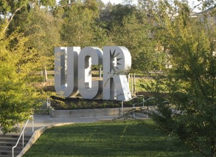 UC Riverside Environmental Graphic Design Wayfinding UCR Letters Outdoor University Identity Signage Design Metal Standing