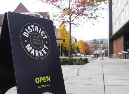 District Market Environmental Graphics Education Branding Wayfinding Outdoor A Frame Sandwich Board Sign Branding Logo Identity