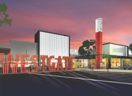 Environmental Graphic Design Westgate Center Exterior Visioning Signage Building Identity Pylon Rendering