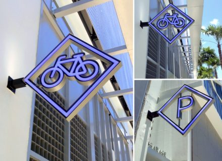 Environmental Graphic Design Miami Design District 3D neon blade sign directional signage parking