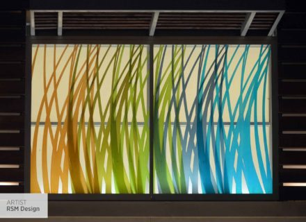 RSM Design Environmental Experiential Architectural Graphic Design Work Project Portfolio Our Work The Collection At Riverpark Public Art Oxnard CA Artist RSM Design Public Art Blades Overlap Glass Backlit Decorative