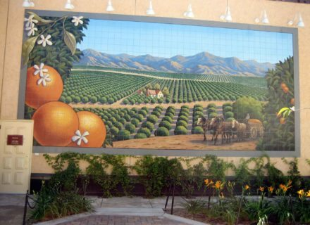 RSM Design Environmental Experiential Architectural Graphic Design Work Project Portfolio Our Work Victoria Gardens Public Art Rancho Cucamonga CA Custom Painted Tile Mosaic Graphic Exterior Public Art