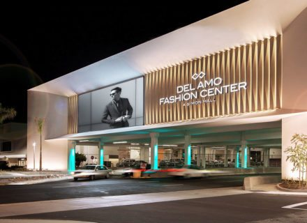 Del Amo Fashion Center Environmental Graphic Design Mall Exterior Signage Wall Mounted Fascia Screen