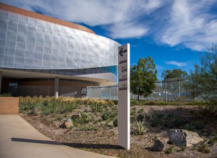 UC Riverside Recreation Center Environmental Graphic Design exterior directional arena mac gym