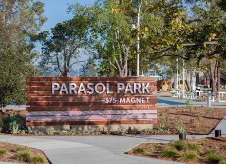 Parasol Park Environmental Graphic Design Exterior Identity Monument Wayfinding Featured