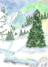 Christmas Tree On The Mountain