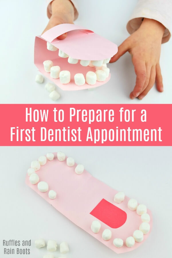 You can prepare a child for their first dental appointment and reduce the anxiety and fear surrounding the dentist. Here's how. #dentistappointment #childhoodanxiety #dentalanxiety #modelofamouth #mouthmodel #mouthpuppet #papercrafts #DIY #craftsforkids #rufflesandrainboots