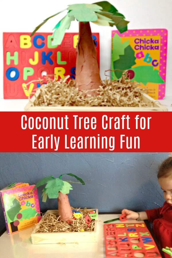 photo collage of coconut tree craft for kids and learning prompt