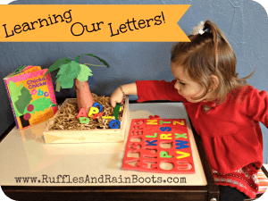 Chicka Chicka ABC learning prompt with text which reads learning our letters