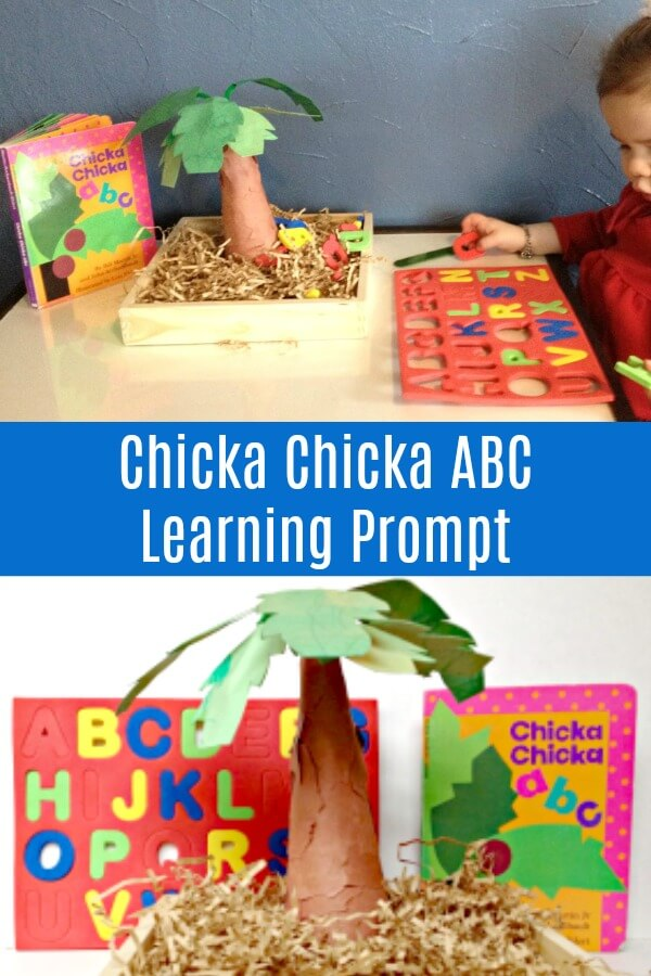 photo collage of coconut tree craft with text which reads Chicka Chicka ABC learning prompt