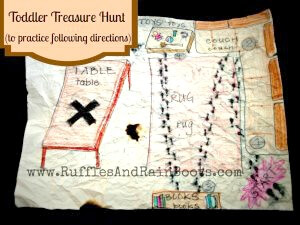 photo of treasure map with text which reads Toddler Treasure Hunt