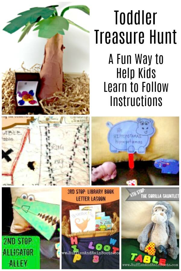 Scavenger hunt Photo Collage with text which reads Toddler Treasure Hunt
