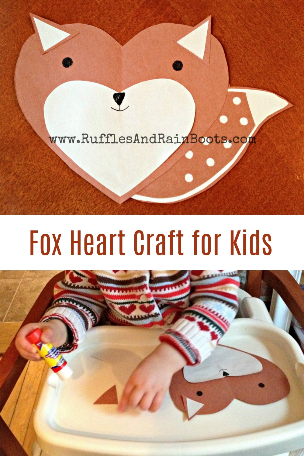 Fox made from hearts kids craft