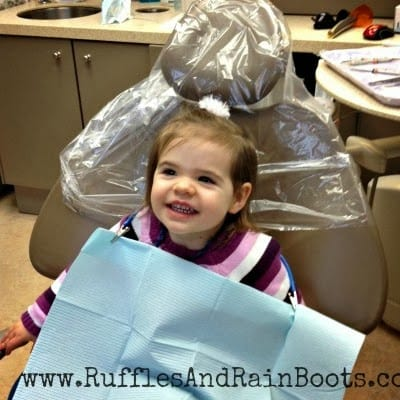 This is a picture of an adorable two year old getting a root canal after a fall.