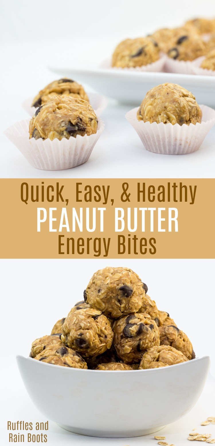 Make these quick and easy healthy peanut butter snacks for kids. These energy bites are great to get the kids in the kitchen! #peanutbutter #peanutbutterrecipes #energybites #kidsinthekitchen #snacks #rufflesandrainboots