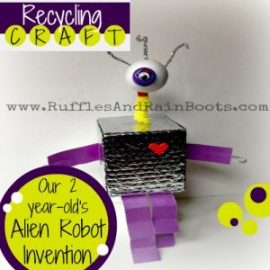 From Ruffles And Rain Boots: Earth Day Craft with recyclables and scraps