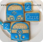 From Ruffles And Rain Boots: Volkswagen bus cookies, decorated Volkswagen cookies, VW cookies
