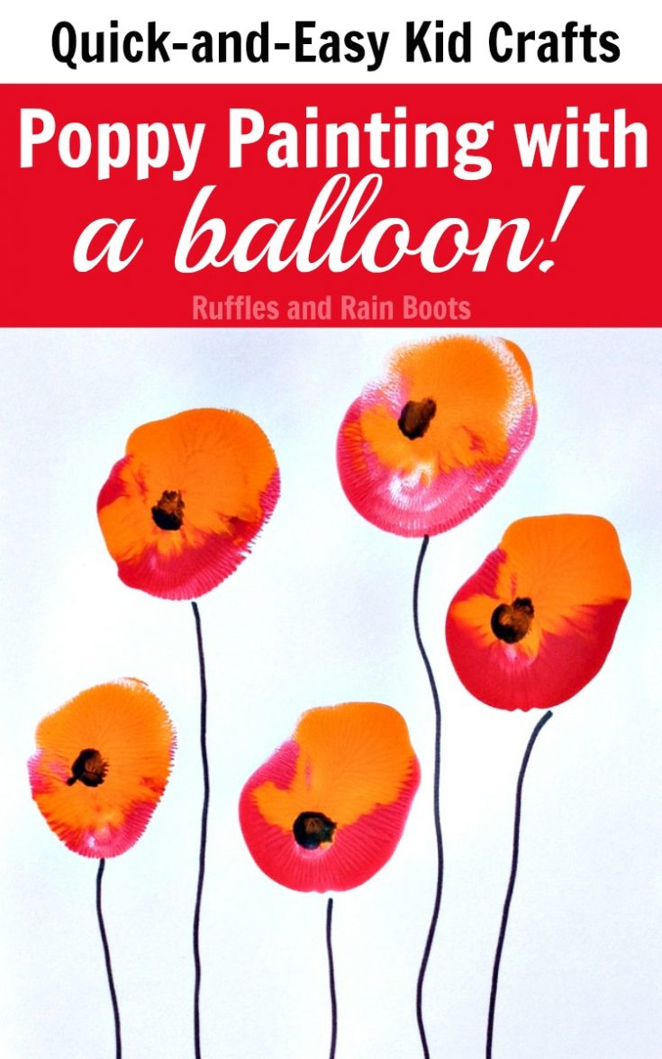 Set up this quick poppy painting activity with a surprise paintbrush - a balloon! It's so much fun, even the littlest ones can do it. #rufflesandrainboots #poppypainting #memorialday #remembranceday #veteransday #painting #rufflesandrainboots
