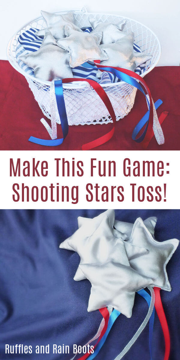 Make this easy and FUN shooting stars toss game for the backyard. We had so many laughs and good times with these. #backyardfun #backyardgames #summer #4thofJuly #IndependenceDay #patriotic #summerfun #rufflesandrainboots