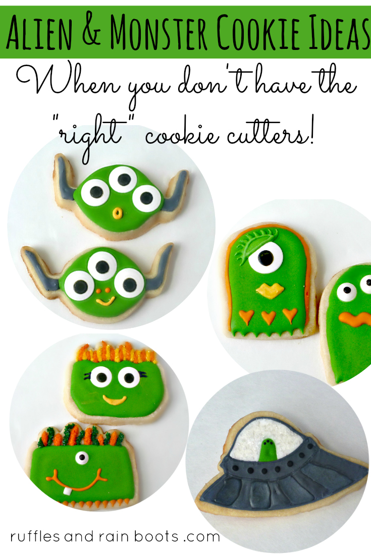 Use this cookie cutter hack to make the most adorable monster and alien cookies. #cookies #cookiedecorating #rufflesandrainboots