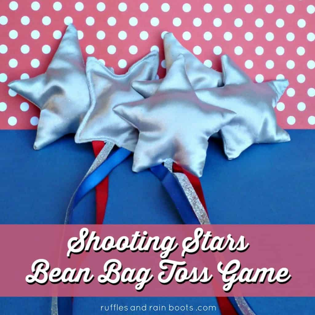 Make this fun shooting stars bean bag toss game. It's perfect for a backyard filled with kids! #summer #beanbag #summergames #summerfun #backyard #rufflesandrainboots